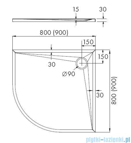 Schedpol Etrusco brodzik półokrągły 90x90x3cm 3.464