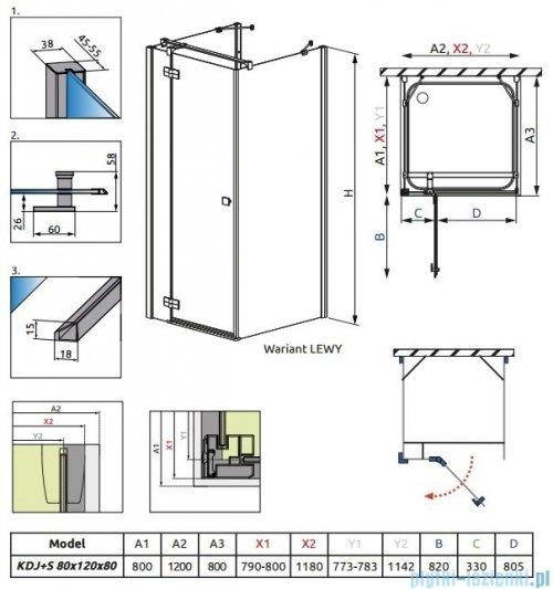 Radaway Kabina prysznicowa Almatea KDJ+S 80x120x80 lewa szkło przejrzyste 31542-01-01L1/31542-01-01L2