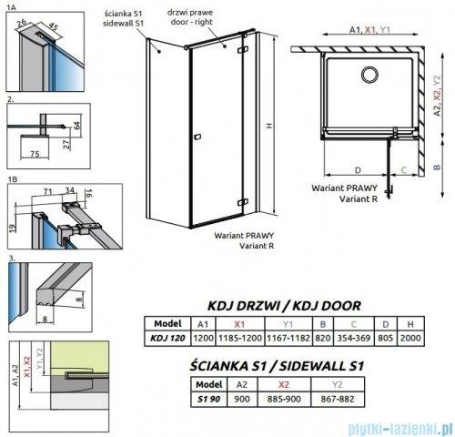 Radaway Fuenta New Kdj kabina 120x90cm prawa szkło przejrzyste + brodzik Doros + syfon