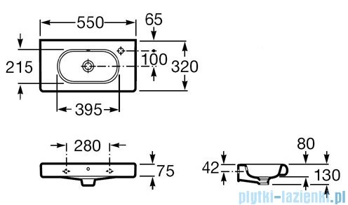 Roca Meridian-N Compacto Umywalka 55x32cm z powłoka Maxi Clean A32724Y00M