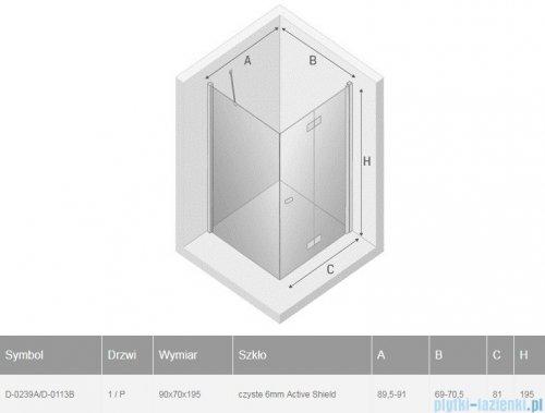 New Trendy New Soleo Black 90x70x195 cm kabina prawa przejrzyste D-0239A/D-0113B