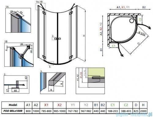 Radaway Essenza New Pdd kabina 80x100cm szkło przejrzyste 385002-01-01L/385003-01-01R