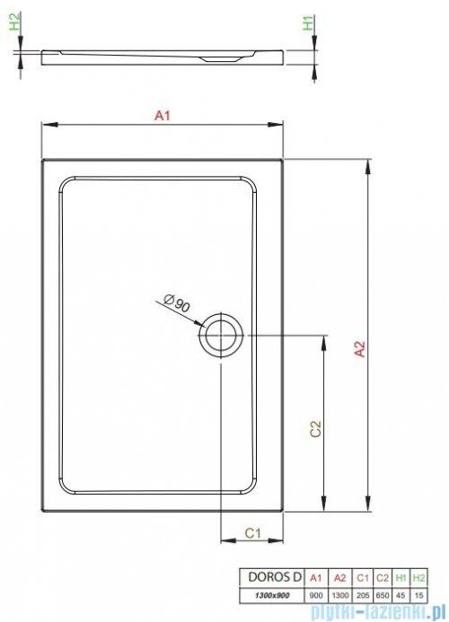 Radaway Doros Plus D Brodzik prostokątny 130x90x4,5cm SDRPD1390-01