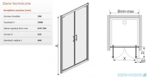 Sanplast Tx drzwi skrzydłowe DD/TX5b 70x190 cm przejrzyste 600-271-1900-38-401