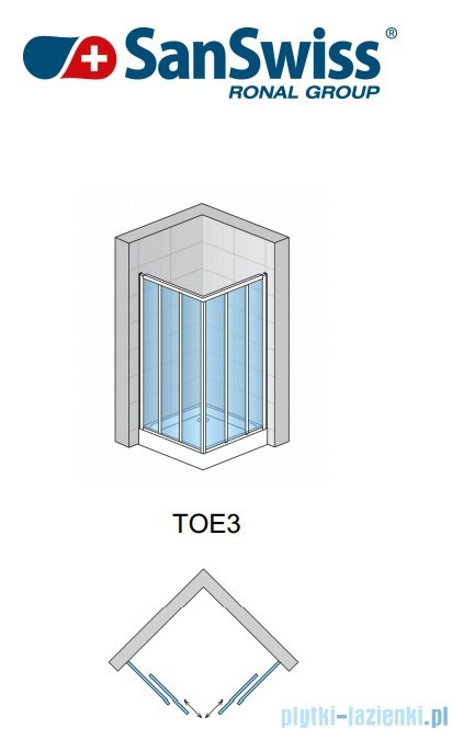 SanSwiss Top-Line TOE3 Wejście narożne 3-częściowe 80cm profil biały Prawe TOE3D08000407