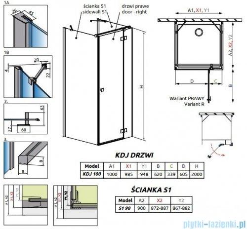 Radaway Essenza New Kdj+S kabina 90x100x90cm prawa szkło przejrzyste + brodzik Doros D + syfon