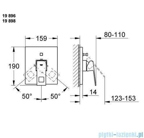 Grohe Eurocube jednouchwytowa bateria wannowa z przełącznikiem wanna/prysznic 19896000