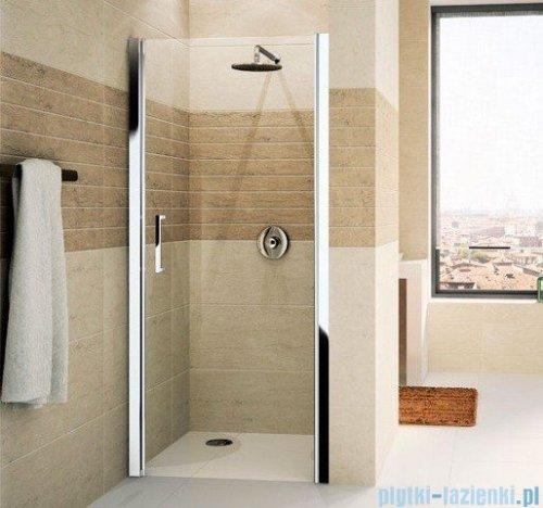 Novellini Drzwi do wnęki uchylne GIADA 1B 81 cm prawe szkło przejrzyste profil srebrny GIADN1B81D-1B