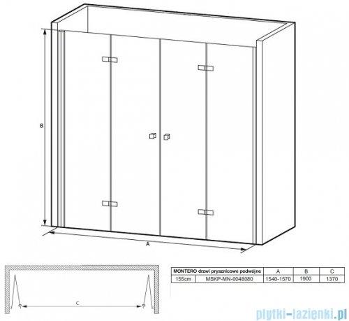 Massi Montero drzwi prysznicowe podwójne bifold 155x190cm przejrzyste MSKP-MN-0048080