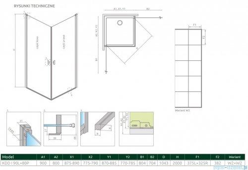 Radaway Nes Black Kdd I Factory kabina 90x80cm rysunek techniczny