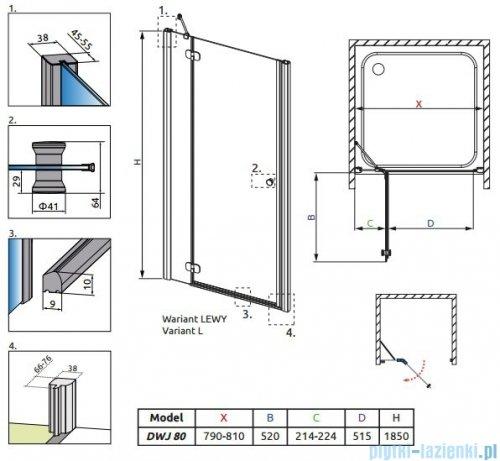 Radaway Torrenta DWJ drzwi wnękowe 80 lewe szkło carre 31910-01-10N