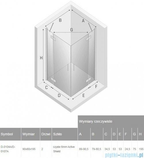 New Trendy New Renoma kabina prostokątna 90x80x195 cm przejrzyste rysunekl techniczny