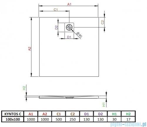 Radaway Kyntos C brodzik kwadratowy 100x100cm czarny HKC100100-54