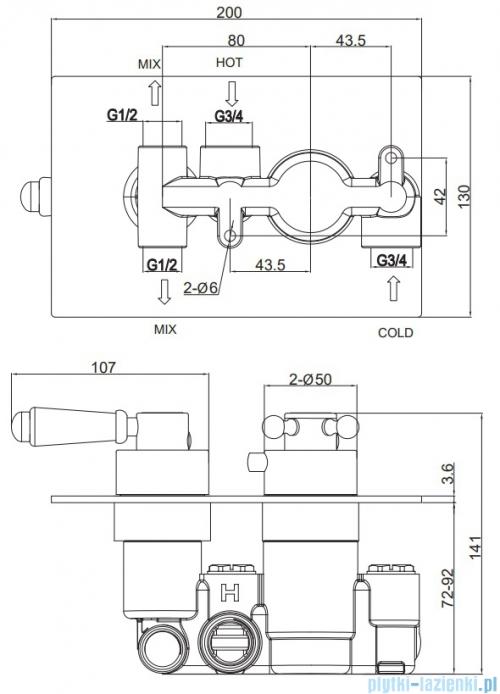 Omnires Retro kompletny system podtynkowy chrom SYSRET01CR
