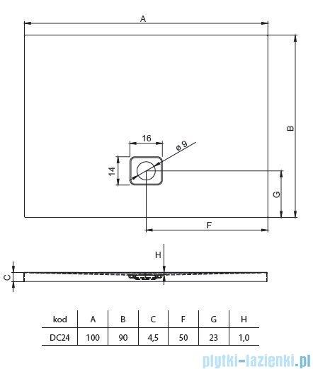 Riho Basel 414 brodzik prostokątny czarny mat 100x90x4,5cm DC2417