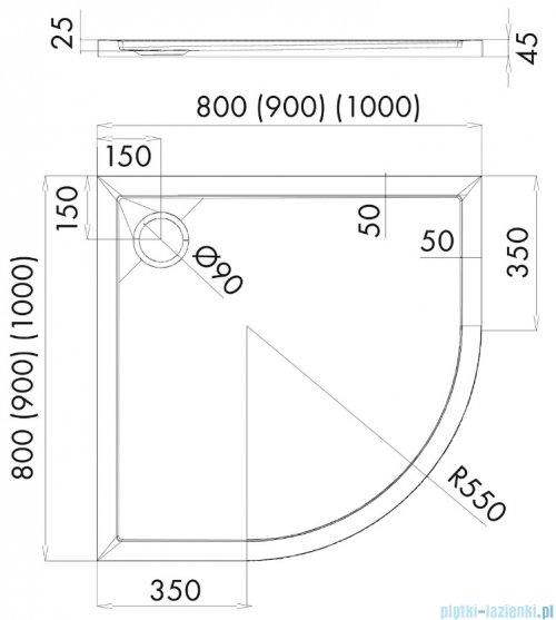 Oltens Superior brodzik półokrągły 90x90 cm 16002000