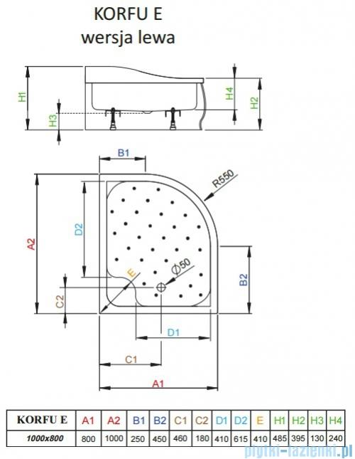 Radaway Brodzik półokrągły Korfu E 100x80 lewy 4E81400-03L