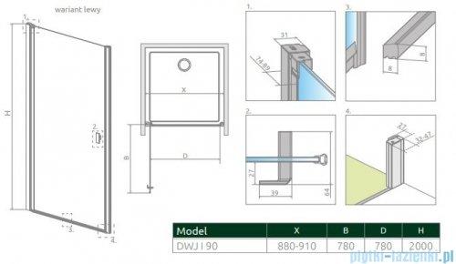Radaway Nes Black Dwj I Frame Drzwi wnękowe 90cm lewe 10026090-54-56L