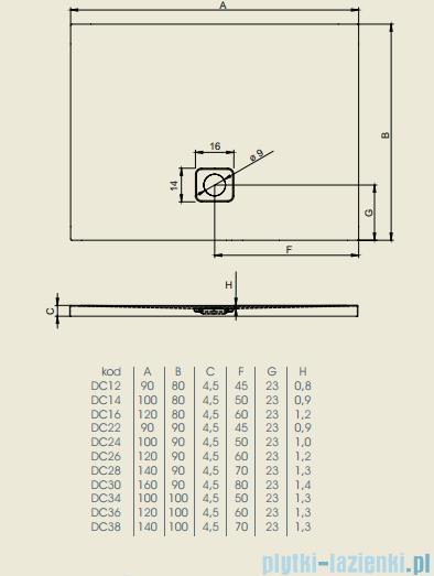 Riho Brodzik prostokątny Basel 434 140x100x4,5cm DC38
