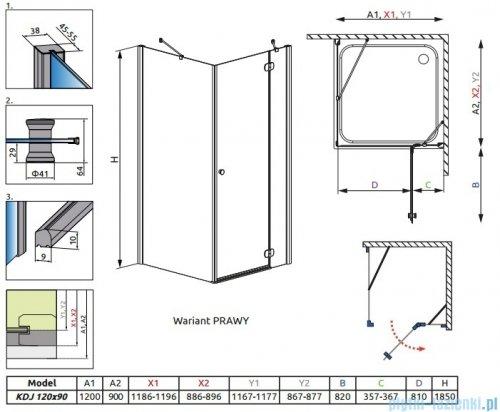 Radaway Torrenta Kdj Kabina prysznicowa 120x90 prawa szkło grafitowe 32245-01-05NR