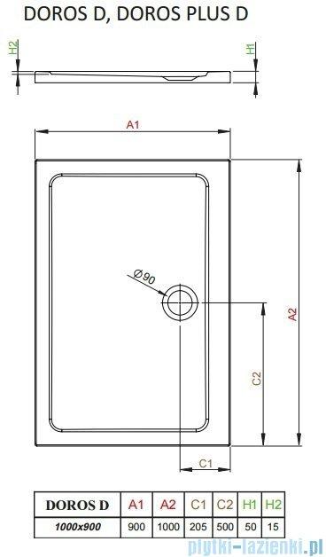 Radaway Arta Kdj II kabina 100x90cm lewa szkło przejrzyste + brodzik Doros D + syfon