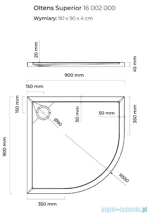 Oltens Superior brodzik półokrągły 80x80 cm 17002000