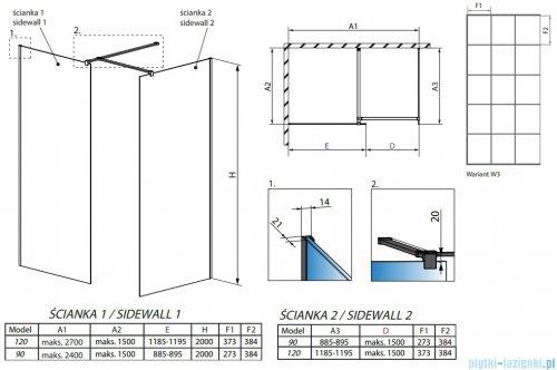 Radaway Modo New Black III kabina Walk-in 120x90x200 Frame rysunek techniczny
