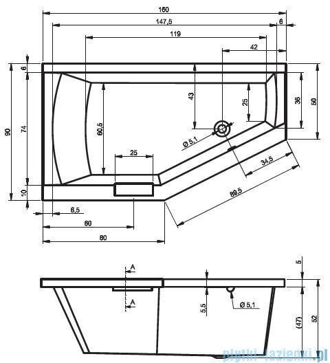 Riho Geta wanna asymetryczna 160x90cm prawa+nóżki BA86/09