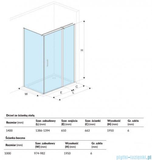 Excellent Mazo kabina prostokątna 140x100 cm przejrzysta