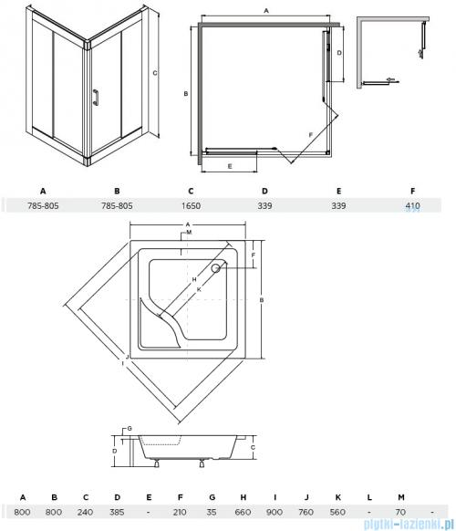 Besco Modern kabina kwadratowa z brodzikiem 80x80cm przejrzyste MK-80-165-C/#BAI-80