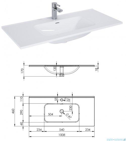 Elita Look szafka z umywalką 100x63x45cm biały połysk 167085/145855