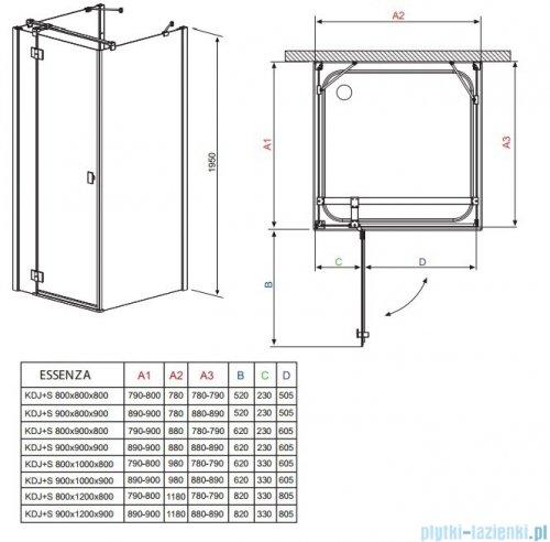 Radaway Kabina prysznicowa Essenza KDJ+S 80x90x80 prawa szkło przejrzyste + brodzik Doros D + syfon 32956-01-01R