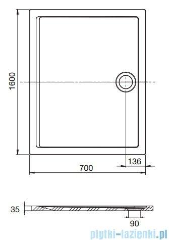 Roca Aeron brodzik prostokątny 160x70x3,5cm biały + syfon A276291100