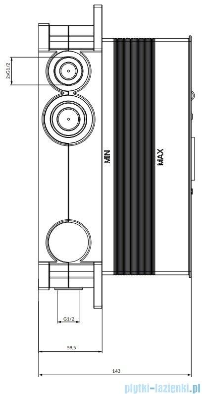Omnires Element podtynkowy termostatyczny do baterii 3-wyjściowej BOXTE3F
