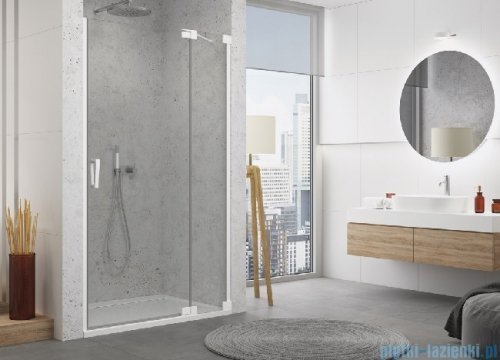 SanSwiss Cadura White Line drzwi wahadłowe 100cm jednoczęściowe prawe z polem stałym biały mat CA13D1000907