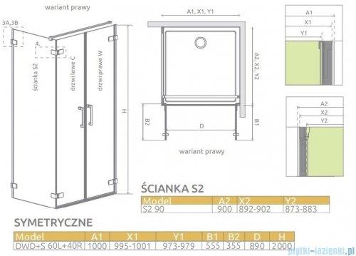 Radaway Arta Dwd+s kabina 100 (60L+40R) x90cm prawa szkło przejrzyste 386180-03-01R/386059-03-01L/386111-03-01