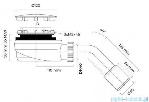 Oltens Pite Turbo syfon brodzikowy odpływ 90 mm 08001000