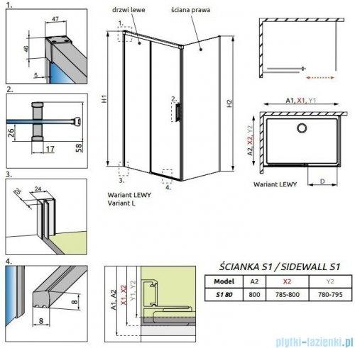 Radaway Idea Kdj ścianka boczna 80cm prawa szkło przejrzyste 387051-01-01R