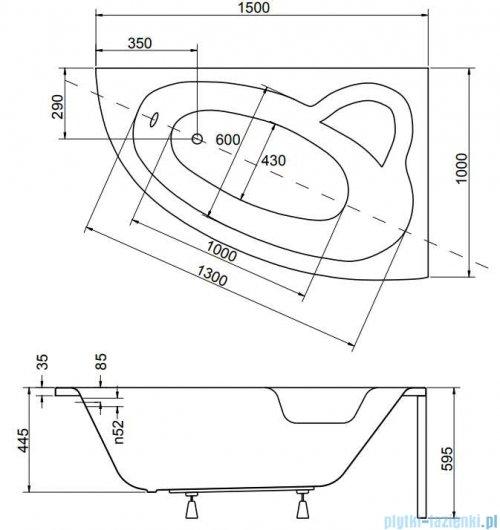 Besco Natalia Premium 150x100cm wanna asymetryczna prawa z uchwytami i zagłówkiem + obudowa + syfon rysunek techniczny