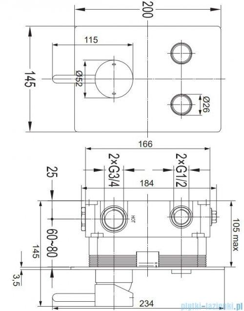 Omnires Y bateria natryskowa podtynkowa 2-wyjściowa GoClick chrom Y1235GCCR