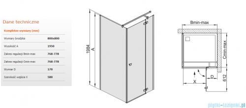 Sanplast kabina narożna kwadratowa KNDJ2/FREE-80 80x80x195 cm przejrzyste 600-260-0600-42-401
