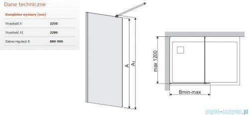 Sanplast Space Wall P/SPACEWALL-XL kabina walk-in 90x225 cm przejrzyste 600-320-3130-42-401