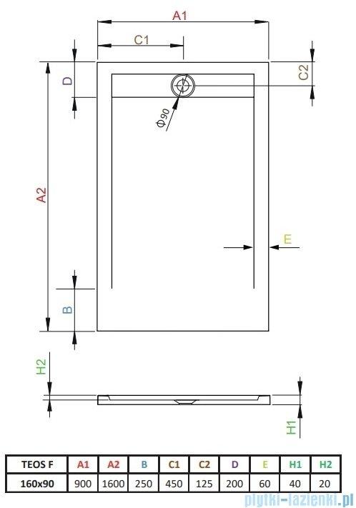 Radaway Teos F brodzik 160x90cm cemento HTF16090-74