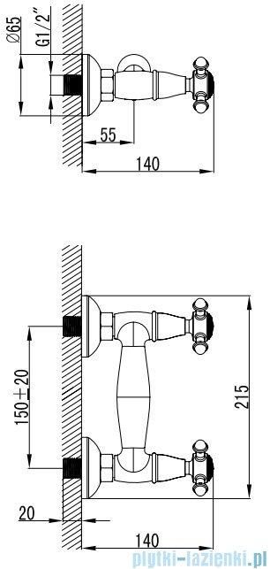 Omnires Retro bateria prysznicowa brąz antyczny RE7240BR