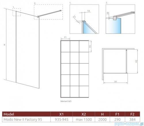 Radaway Modo New Black II 95x200 Factory kabina Walk-in rysunek techniczny