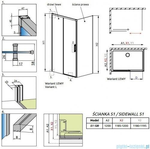 Radaway Idea Black Kdj ścianka boczna 120cm prawa szkło przejrzyste 387054-54-01R