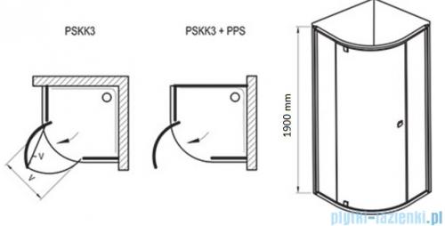 Ravak Pivot PSKK3 kabina półokrągła 80x80 aluminium transparent Anticalc 37644C00Z1