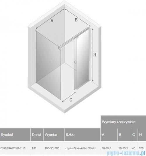 New Trendy Porta kabina prostokątna 100x90x200cm prawa szkło przejrzyste rysunek tchniczny