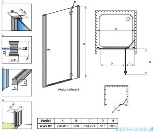 Radaway Torrenta DWJ drzwi wnękowe 80 prawe szkło grafitowe 32010-01-05N