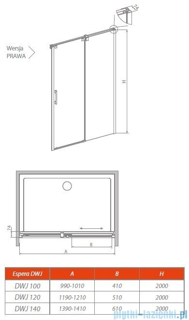 Radaway Espera DWJ Mirror Drzwi wnękowe przesuwne 140 prawe szkło przejrzyste 380695-01R/380214-71R